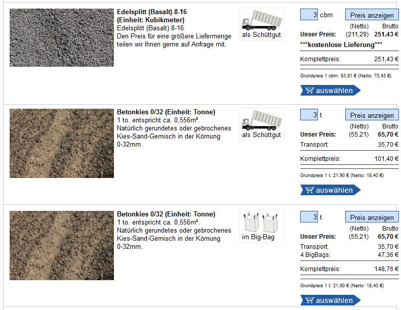 Preise für sand